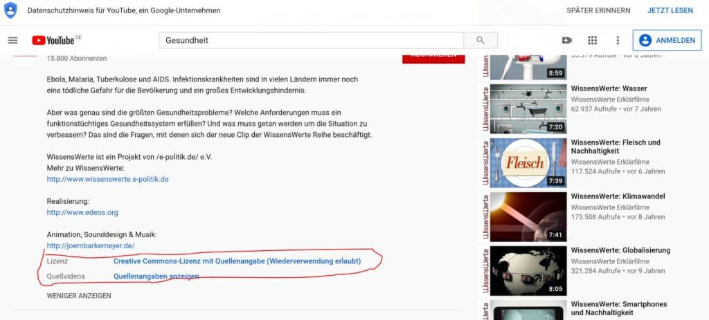 Creative Commons Youtube Schritt 5